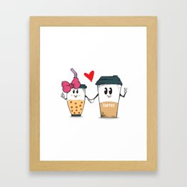 Miss.Bubble Milk Tea and Mr.Coffee say Hello for everyone Framed Art Print