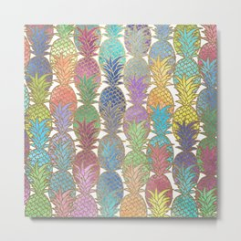 Colorful Watercolor and Gold Pineapple Pattern Metal Print