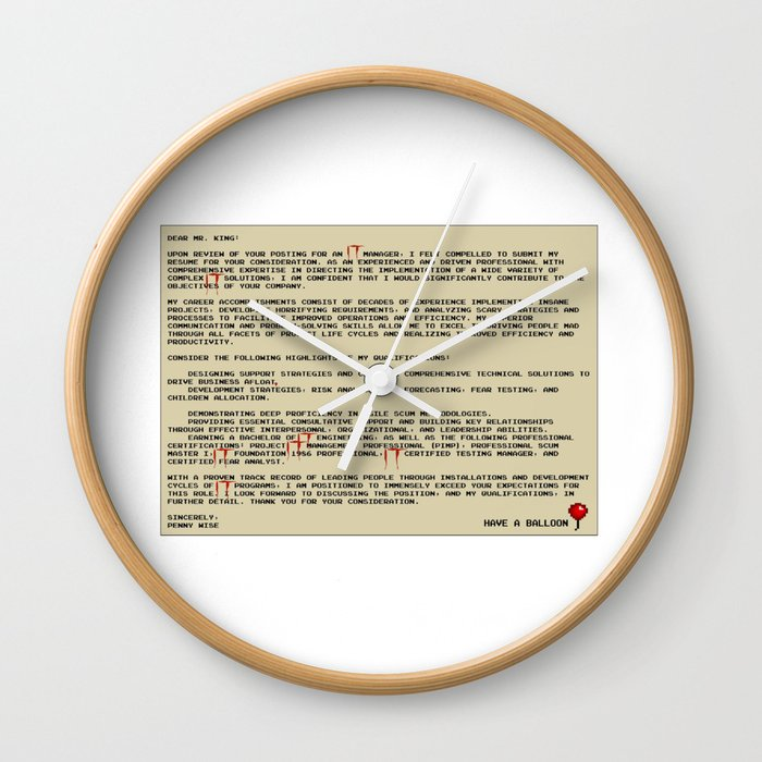 IT Manager Cover Letter Wall Clock by spikes300