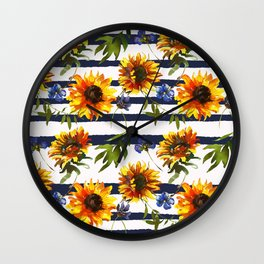 Stripes and Sunflowers Wall Clock
