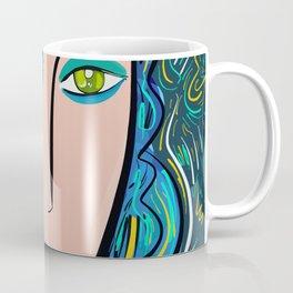 Pop Girl with green eyes and blue hair Coffee Mug