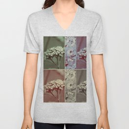 Vintage Retro Flower Collage Unisex V-Neck