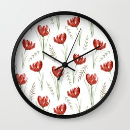 Red poppies. Watercolor Wall Clock