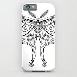 Art Nouveau Moth (white background) iPhone Case
