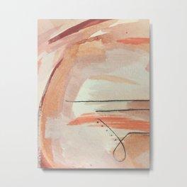 Aly [3]: minimal | pinks | white | black | mixed media | abstract | ink | watercolor | wall art Metal Print