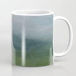 Gray Blue Navy Indigo Grass Green Abstract Painting Wall Art Prints, Nature Horizon, Modern Wall Art Coffee Mug