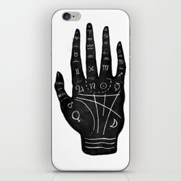 Palm Reading Chart - Black on White iPhone Skin