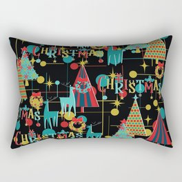 Retro Christmas in Black Rectangular Pillow