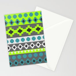 Bright tribal stripes in green and blue Stationery Cards