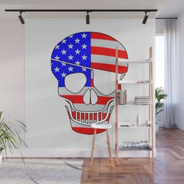 Old Glory Skull Silhouette With Eye Patch Wall Mural
