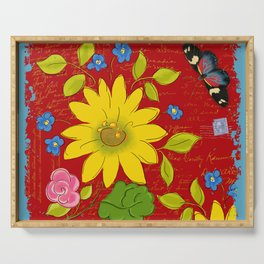Sunflower on Red Serving Tray