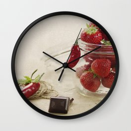 Strawberries and chocolate in a glas Wall Clock