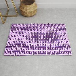 Purple and White Greek Key Pattern Rug