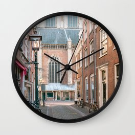 Historical architecture of the city Haarlem, Holland || Color travel photography streetview Europe Wall Clock