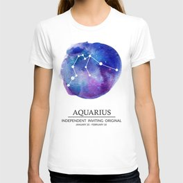 Aquarius Watercolor Zodiac Constellation T-shirt
