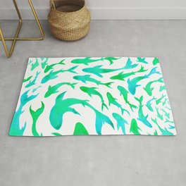Moving in Unison (Turquoise and Green) Rug