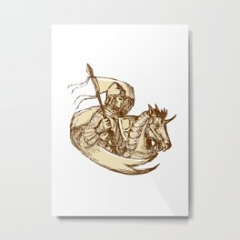 Knight On Horse Holding Flag Drawing Metal Print