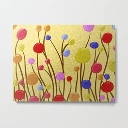 Lollipoppies on Gold Stylized Metal Print