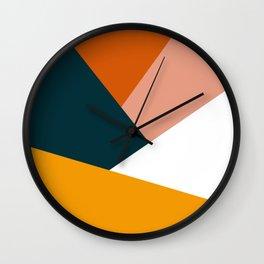 Colorful geometric design in orange & yellow Wall Clock