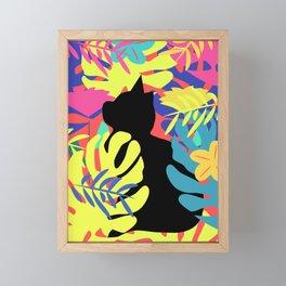 Tropical cat Framed Mini Art Print