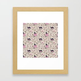Cats and flowers on beige background Framed Art Print