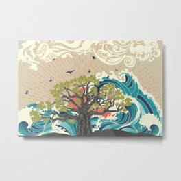 Stylized tree and stormy ocean or sea at sunset, art poster design Metal Print