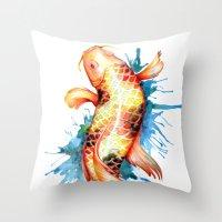 koi fish Throw Pillows featuring Koi Fish by Sam Nagel