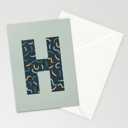Swish Shapes Initial Monogram Letter H Stationery Cards