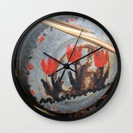 Tulips on an oil pan Wall Clock