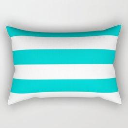 Horizontal Stripes - White and Cyan Rectangular Pillow