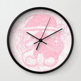 Pink Stormtrooper Peonies Flower Summer Pattern Wall Clock