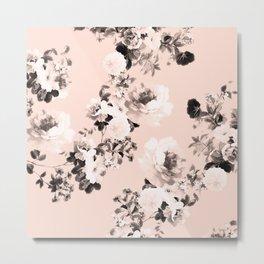 Modern girly elegant blush pink white floral pattern Metal Print
