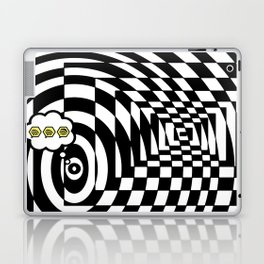 optical visual illusion thinking cloud of black and white chess board tunnel op art  Laptop & iPad Skin