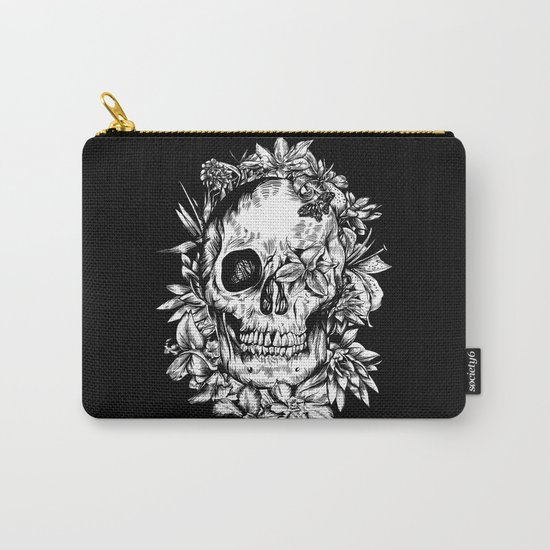 floral skull drawing black and white 2 Carry-All Pouch