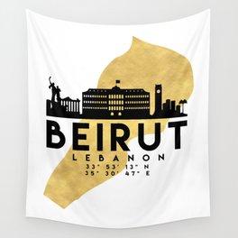 BEIRUT LEBANON SILHOUETTE SKYLINE MAP ART Wall Tapestry