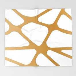 Abstract Golden lines Throw Blanket