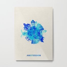Amsterdam, The Netherlands Colorful Skyround / Skyline Watercolor Painting Metal Print