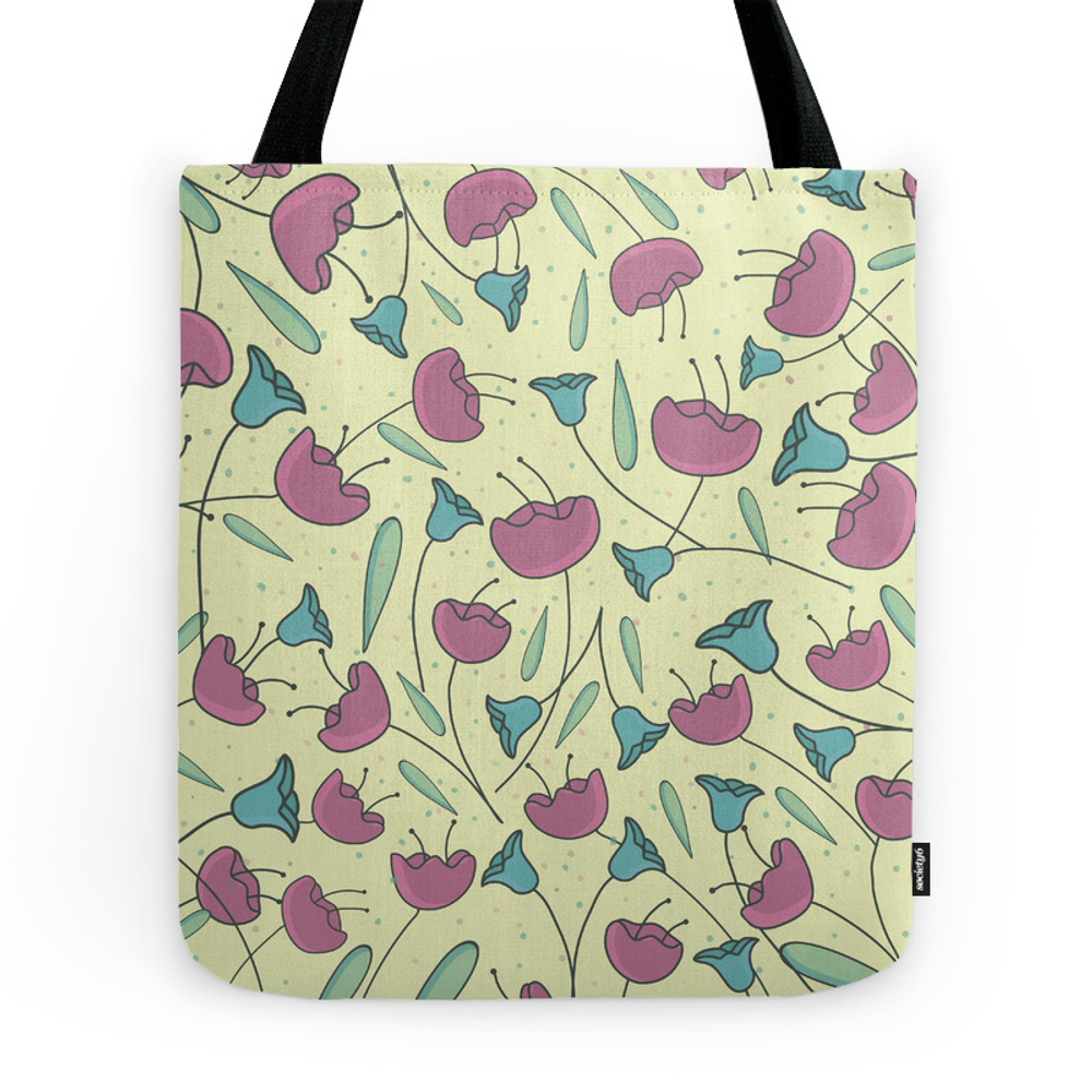Pink Flowers Tote Purse by lauryngrafica (TBG7820380) photo