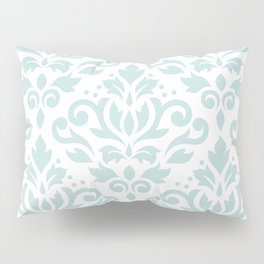 Scroll Damask Lg Pattern Duck Egg Blue on White Pillow Sham
