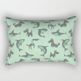 Sharks and Barks - Teal & Grey Rectangular Pillow