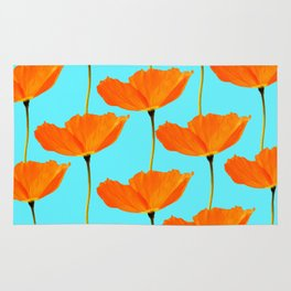 Poppies On A Turquoise Background #decor #society6 #buyart Rug