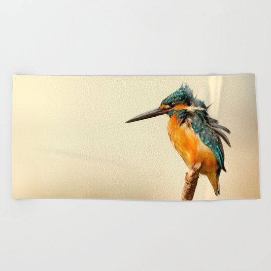 Kingfisher Bird Beach Towel