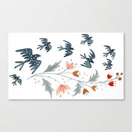 Starlings & Flowers Canvas Print