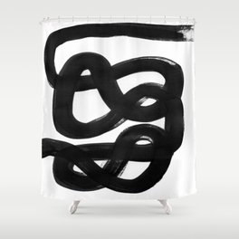 Knots Black & White Minimalist Ink Tribal Mid Century Pattern Dark Painting Pattern Shower Curtain