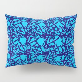 Royal pattern of blue squiggles and light blue ropes on a monochrome background. Pillow Sham