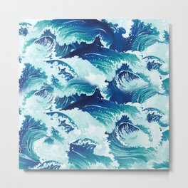 Big rushing sea or ocean waves design Metal Print
