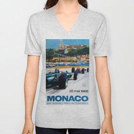 Gran Prix de Monaco, 1966, original vintage poster Unisex V-Neck