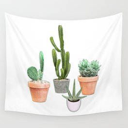 """""""POTTED CACTUS (WHITE)"""" Wall Tapestry"""