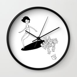 White Water Bunnies Wall Clock