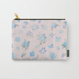 Pastel pink blue green watercolor floral illustration Carry-All Pouch